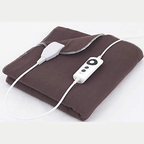Elektische Wärmedecke mit 6 Heizstufen, Nutzung bis zu 8 Stunden möglich, ideal zum Bett vorwärmen, Farbe: braun