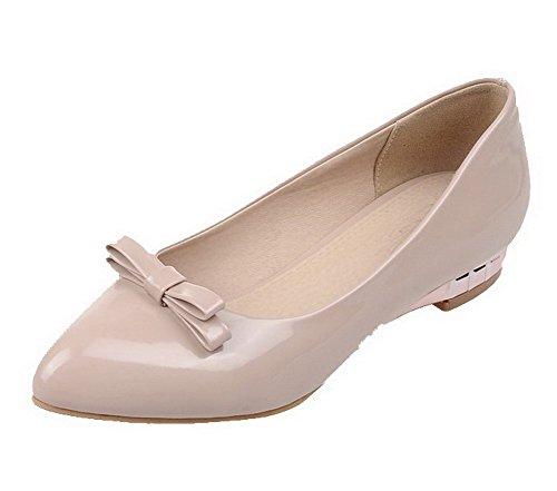 VogueZone009 Damen Spitz Zehe Ziehen Auf Pu Leder Rein Niedriger Absatz Pumps Schuhe Aprikosen Farbe