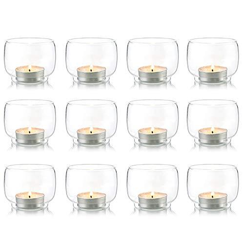 Nuptio Hurricane Votive Kerzenhalter aus klarem Glas, 12er-Set Kerzenhalter für geführte Kerzen/Duftkerzen (Kerzen Für Glas-hurricane)