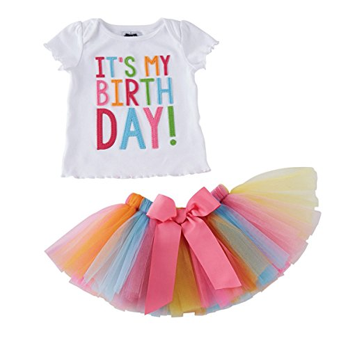 Baby Girls Toddler It's My 1st/2nd Birthday Printed Tops T-Shirts & Layered Rainbow Tulle Tutu Skirt Outfit Set Girls Dress up Baby Girl Gifts for 0-6 Years Old