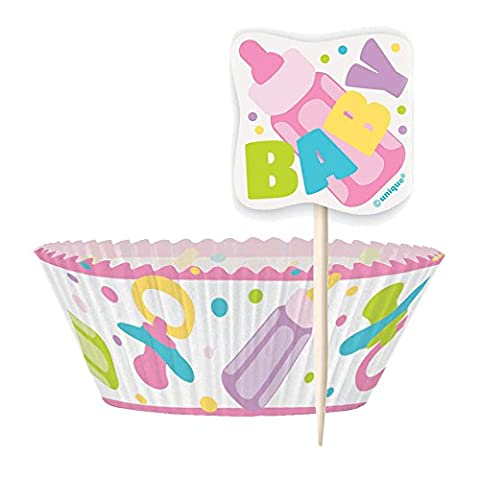 Pink Baby Shower Cupcake Cases and Cupcake Toppers Kit for 24