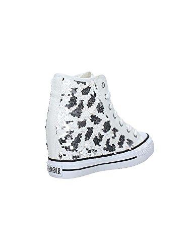Cafè Noir Sneaker Damen Wedge Cm 7 Paillettes weiß Silber Bianco