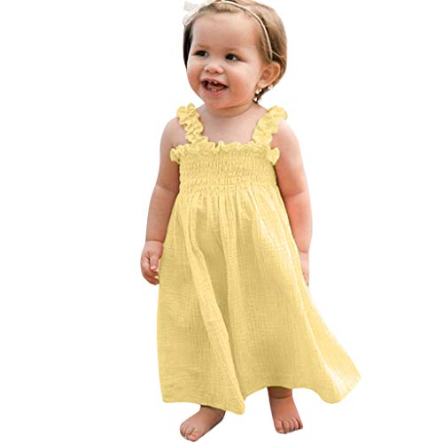 Weant Baby Kleidung Mädchen Keider Festlich Outfits Falten Leinen Solide Partykleid Sommerkleid Prinzessin Kleid Kinder Kleider Baby Bekleidungssets Neugeborenen Bekleidungset