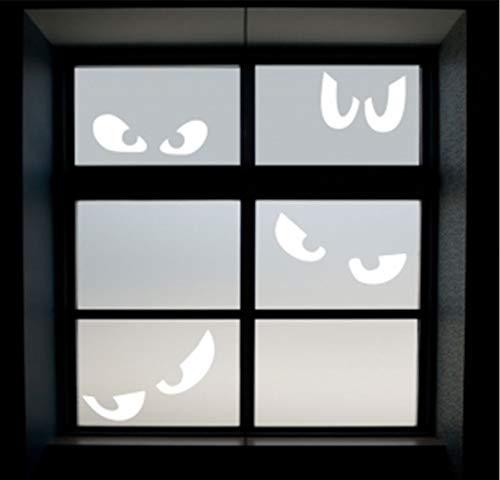 wandaufkleber blumen wandaufkleber baumstamm weiß Spooky Fenster Augen Halloween Decals