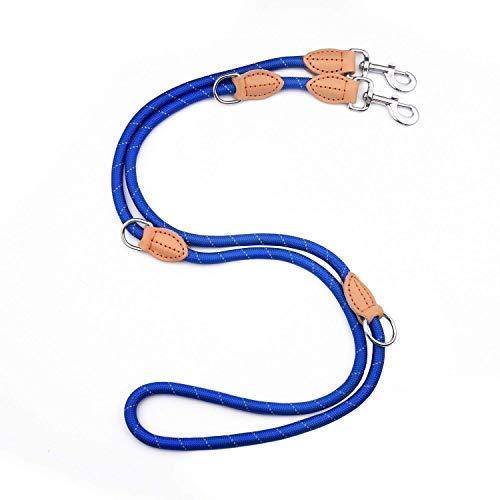PetCay Premium Hundeleine Blau | Doppelleine Führleine für Mittelgroße & Große Hunde | Verstellbar (1,1 m - 2 m) 13 Premium-leder