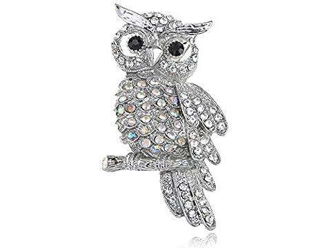 Winter Snow Owl Bird Hooting Clear AB Crystal Rhinestone Silvery