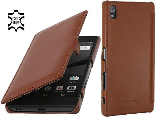 StilGut Book Type Case mit Clip, Hülle aus Leder kompatibel mit Sony Xperia Z5 Premium / Z5 Dual Premium, Cognac Premium Leder Clips