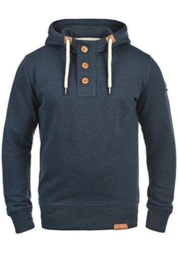!Solid TripStrip Herren Kapuzenpullover Hoodie Pullover Mit Kapuze Knopfleiste Und Fleece-Innenseite, Größe:XXL, Farbe:Insignia Blue Melange (8991)