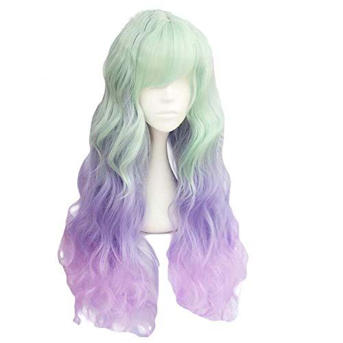 Fading Vert Gris/Violet Rose 65 cm 2 cosplay ton pleine perruque de longs cheveux bouclés