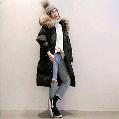 Fashion Daunenjacke Winter Frauenkleidung Militärische Ausrüstung Lose Lose Lange Weiße Ente Daunenjacke,Schwarz,S