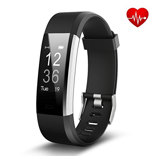 Antimi Fitness Tracker,Smart Watch with Heart rate monitoring Bluetooth Smartwatch Wristband Bracelet Sport Pedometer Activity Tracker with Alarm Calorie Counter Sleep Tracker for Android IOS(Black)