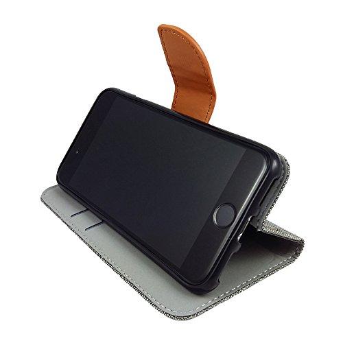 handy-point Flexi Buchhülle Klapptasche Hülle Schutzhülle Tasche in Buchform mit flexibler Gummischale Aufstellfunktion und EC Kartenfach Wallet Book Flip Case für iPhone 8 / iPhone 7, Jeans-Look (Gra Grau / Braun