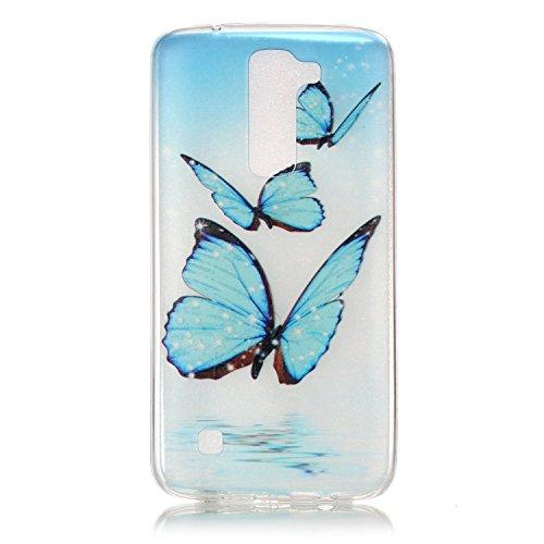 LG K7 Hülle,SainCat Silikon Hülle Tasche Handyhülle [Kratzfeste, Scratch-Resistant] TPU Gel Bumper Case Weiches Transparentes Silikon Schutzhülle Crystal Kirstall Clear Case Durchsichtig Malerei Muste Drei Blue Butterfly