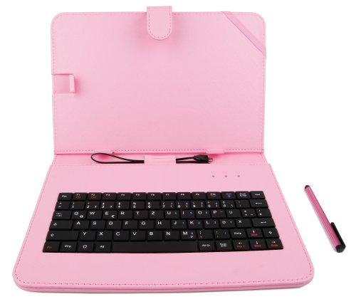 DURAGADGET Rosane Tastatur-Hülle mit deutscher QWERTZ-Belegung, kompatibel mit 10 Zoll ODYS Tablet PCs (siehe Produktbeschreibung)