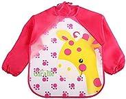 baby waterproof sleeved bid apron kids Smock for 1-5 Years old Infants giraffe