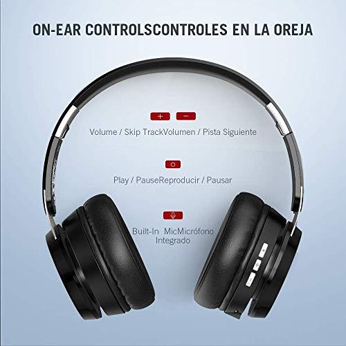 Auriculares de Diadema Bluetooth Cancelaci/ón de Ruido Cascos Bluetooth 5,0 Autonom/ía 15hrs Color Bronce Unico Micr/ófono Incorporado Plegables