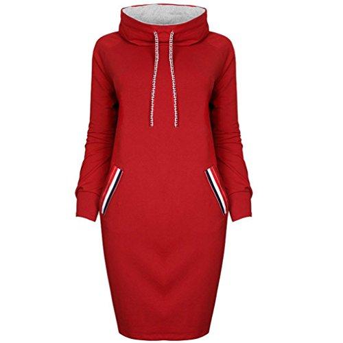 Damen Hoodie Sweatshirt,Dasongff Frauen Kapuzenpullover Mit hohem Kragen Feste Sweatshirt Pullover Tops Slim Fit Pulloverkleid (L, Rot-B) (M/l Kragen)