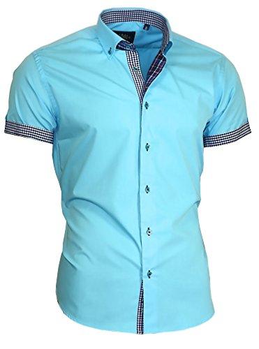 d500f6f588b8 Louis Binder de Luxe Herren Hemd Shirt modern fit Kurzarm  Button-Down-Kragen 833 türkis M 40
