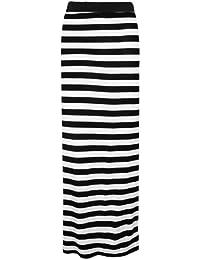 The Home of Fashion Womens Black and White Horizontal Striped Maxi Skirt