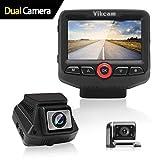 Vikcam Cámara de Coche delantera y trasera para automóvil, 170° Angular, HDR/WDR Night Vision Dash Cam con Sony IMX323 G-Sensor Detección de movimiento, grabación en bucle y modo estacionamiento