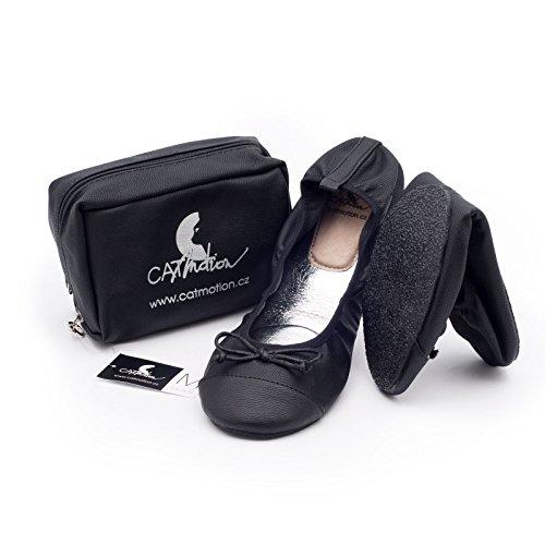 Faltbare Schuhe für die Handtasche CatMotion, Damen-Ballerinas, faltbare Ballerinas, Schuhe für die Tasche, Elegance, Schwarz, M (38/39 EU, 5/5.5 UK)