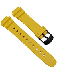 Casio 10365958 - Correa para reloj, resina, color amarillo