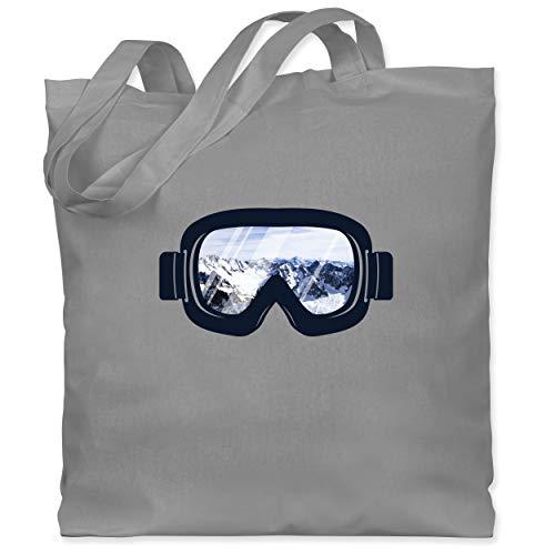 Wintersport - Ski Brille Aussicht - Unisize - Hellgrau - WM101 - Stoffbeutel aus Baumwolle Jutebeutel lange Henkel