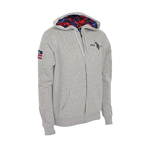 U.S. Polo ASSN Hoody Sweatjacke mit Zip Grau Melange - M (Hoody Polo)