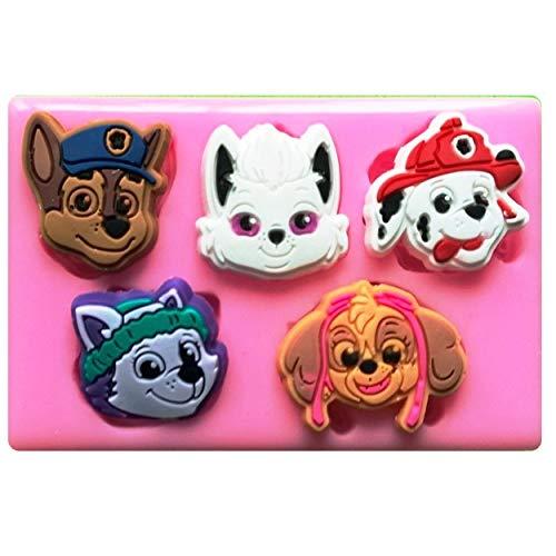Patrol Faces Chase, Skye, Marshall, Everest, Silikonform für Kuchen, Cupcakes, Tortendekoration, Zuckerguss, Werkzeug ()