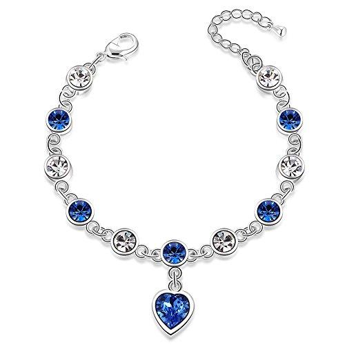 City Ouna® pietre preziose blu placcato argento platino cuore fascino bracciale con Swarovski Elements per donne ragazze
