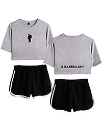 AAZZYUN Billie Eilish niñas Suelta 3D de impresión Superior y Pantalones Cortos de la Camiseta de la Manga 2 Piezas chándal Ropa con Estilo de Yoga (Color : Gray B, Size : M)