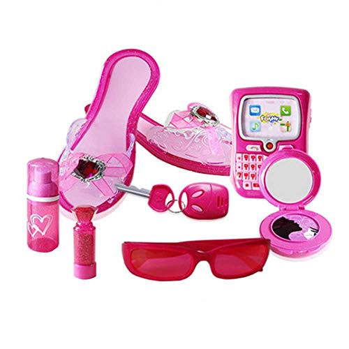 bitcircuit 8 STÜCKE Kleine Prinzessin Fashion Beauty Salon Styling Set Für Rosa Gläser, Schuhe Und Zubehör Für Mädchen
