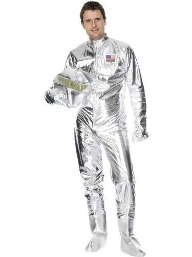 Karneval Herren Kostüm Astronaut Space Man silber Overall Größe (Zombie Astronaut Kostüm)