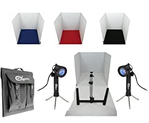 """Ex-Pro Product Photo Soft Box Cube studio set - 24"""" x 24"""" / 60cm x 60cm for white back photography, includes 4 Colour Backgrounds Red, White, Black & Blue, 2 x Daylight Lamps, Tripod stand for camera, Soft Box & carry case. Ideal for catalouge product photography or selling catalouge products online. Photo light tents, Photo light cubes, Photographic tents."""