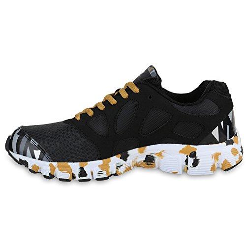 Herren Laufschuhe Sneakers Runners Sportschuhe Lack Schwarz Gold