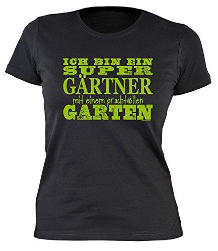 Veri Garten Print Damen T-Shirt Hobbygärtner Gartenfreunde Super GÄRTNER mit prachtvollen Garten Ostergeschenk Gartenarbeit Gartler Sprüche Geschenke Bedruckt Gartenkleidung Gr. XL :