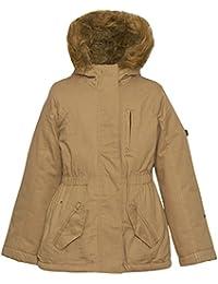 Urban Republic Little Girls Tan Zipper Detail Faux Fur Hood Coat 4-6X