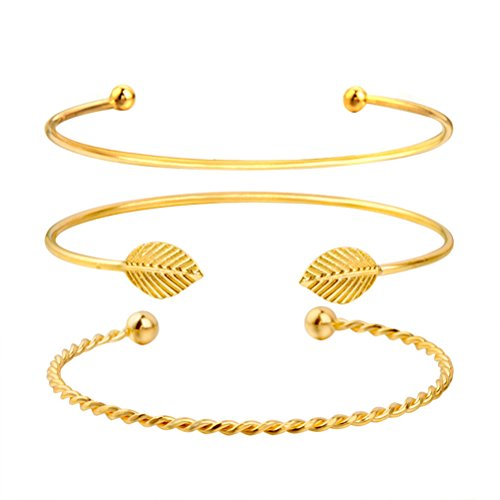 OULII 3 unids Multi-layer Leaf Opening Bracelets Fashion Women Decor pulsera ajustable brazalete del manguito (dorado)
