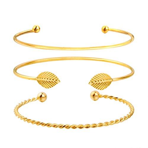 OULII 3 unids Multi-layer Leaf Opening Bracelets Fashion Women Decor pulsera ajustable brazalete del manguito (dorado)
