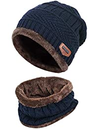 a1043895d36 HIDARLING Winter Warm Knitted Beanie Hat and Circle Scarf Set Fleece Liner  Skull Cap Outdoor Sports
