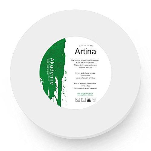 Artina Lienzo blanco redondo con bastidor - 280g/m² - círculo - Ø 10 cm