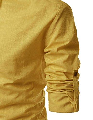 Nearkin Geringes Gewicht Roll Up Mandarin Henley Nacken Leinen T-Shirts NKNKN350-Senf