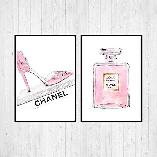 Din A4 2 teiliger Kunstdruck Coco Chanel Parfum Flakon Pumps Schuhe Shopping Lifestyle pink modern...