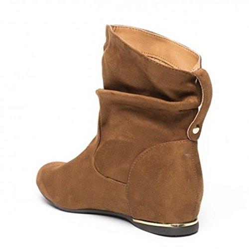 Damen Stiefeletten Cowboy Western Stiefel Boots Flache Schlupfstiefel Schuhe 89 Camel 71