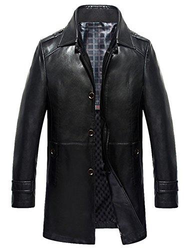 Herren Mode Leder Geschäft beiläufig Leder warm Wind Jacke Schwarz