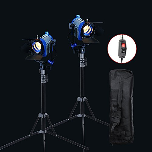 Alumotech Dimmer Eingebauter Fresnel Tungsten 2 X 150Watt + 2 x 210 cm Stand + Case 300W Spot Halogenlampe Studio Video Licht Kit für Kamera Fotografie Beleuchtung Kompatibel Glühbirne
