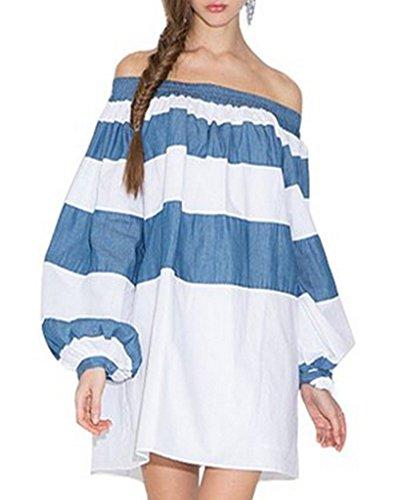 Minetom Donne Spalla Off Vestito Modello Strisce Sciolto Vestito Da Festa Cocktail Clubwear Blu 44