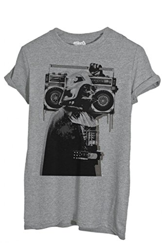 T-SHIRT BANKSY DARTH VADER RADIO - FAMOSI by MUSH Dress Your Style - Uomo-M-GRIGIO SPORT