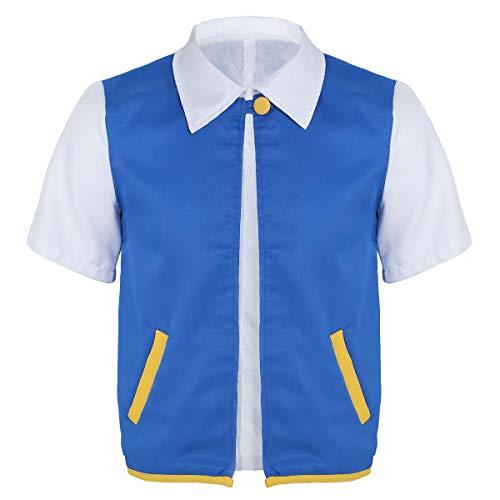 Hemd mit Kentkragen Blaue Weste Jacke Anime T Shirt Oberteil lässig Tops Shirts Blau Large ()