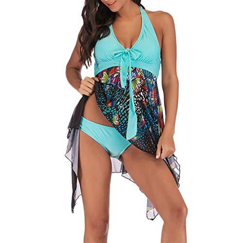 POIUDE Damen Blumendruck Übergröße Bikini Set Sommer Tankini Swim Kleid Beachwear Bademode Frauen Plus Size Badeanzüge(Himmelblau, L)
